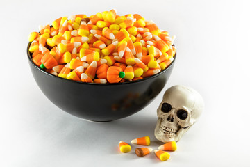 Candy Corn In A Bowl With A Skull