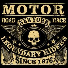 Vintage motorcycle. Hand drawn grunge vintage illustration