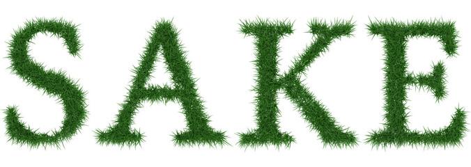 Sake - 3D rendering fresh Grass letters isolated on whhite background.