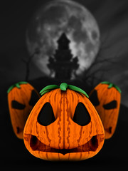 Fototapete - 3D spooky pumpkins in haunted castle landscape