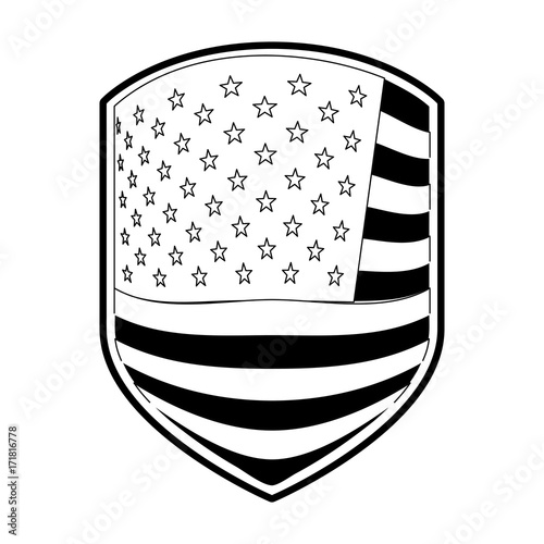 Emblem Of Flag United States Of America In Monochrome Silhouette