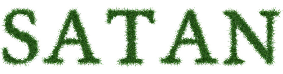 Satan - 3D rendering fresh Grass letters isolated on whhite background.