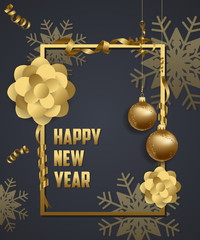 Luxury Elegant Merry Christmas and happy new year poster. Snowflake frame and gold christmas balls