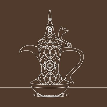 Editable Antique Dallah Arabian Coffee Pot Vector Illustration with Outline Style and Detailed Pattern for Cafe and Middle Eastern Culture and Tradition Related Design