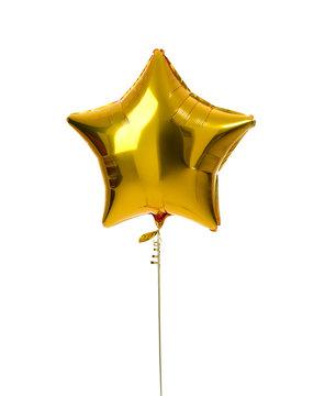 Single gold big star metallic balloon object for birthday