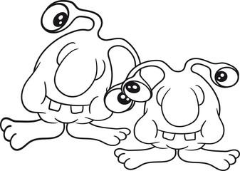 2 freunde team paar team augen fühler lustig klein alien monster hässlich horror ausserirdischer halloween comic cartoon