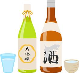 日本酒の瓶と盃