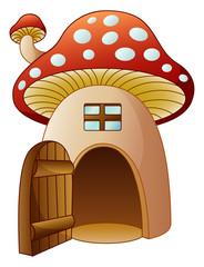 Cartoon mushroom house with open door