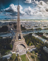 Aerial of the Eiffel Tower in Paris