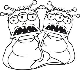 2 freunde team paar schnecke raupe wurm ekelhaft monster fressen böse alien süß niedlich horror ausserirdischer halloween comic cartoon