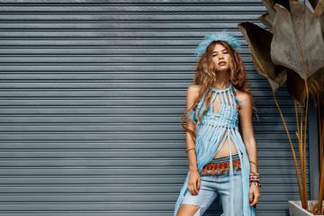 fashion portrait pretty young woman boho hippie style