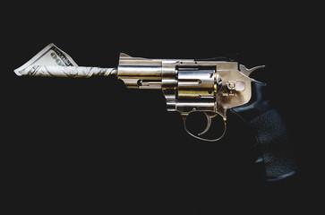 Gun and money crime symbol mafia weapon