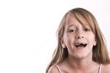young girl making fun, silly faces