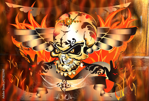 skulls fire rock danger stock photo and royalty free images on