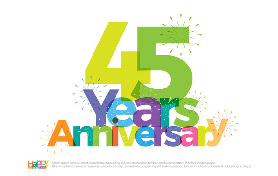 45 years anniversary celebration colorful logo with fireworks on white background. 45th anniversary logotype template design for banner, poster, card vector illustrator