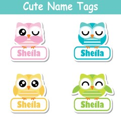Name tag Vector cartoon of colorful cute owl birds suitable for kid name tag set design, label name, and sticker set