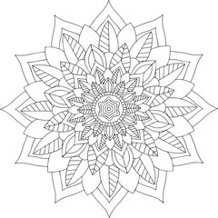black and white online art. Geometric Round Floral Ornament