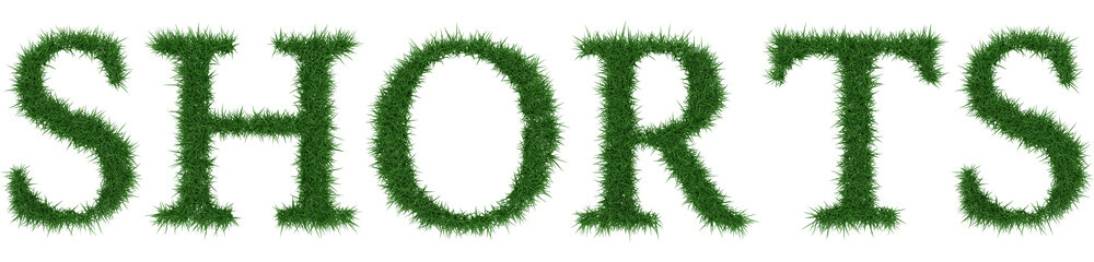 Shorts - 3D rendering fresh Grass letters isolated on whhite background.