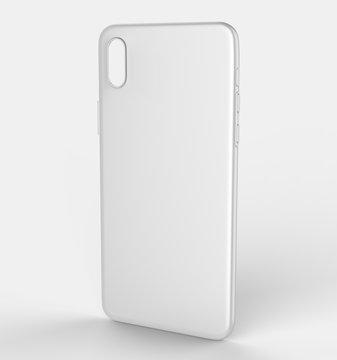 Blank white smart phone mobile back cover or case for design template mock up design. 3d illustration