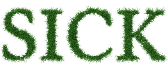 Sick - 3D rendering fresh Grass letters isolated on whhite background.