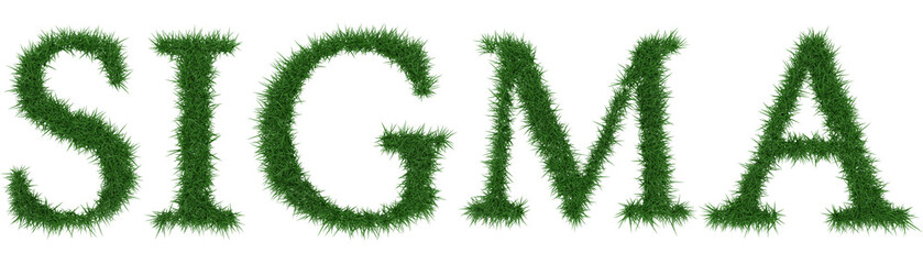 Sigma - 3D rendering fresh Grass letters isolated on whhite background.