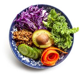 Vegan bowl isolated on white background