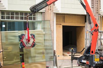 Installation of shop window.