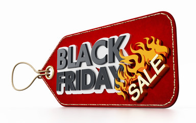 Red Black Friday Sale tag isolated on white background. 3D illustration