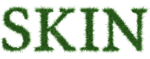 Skin - 3D rendering fresh Grass letters isolated on whhite background.