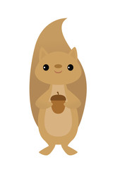 Vector illustration of a squirrel holding an acorn
