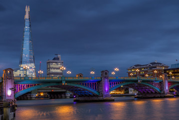 Colorful lights on the Southwalk bridge in London at night - 3