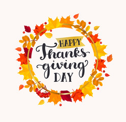 Happy Thanksgiving day lettering in frame from autumn leaves. Vector illustration.
