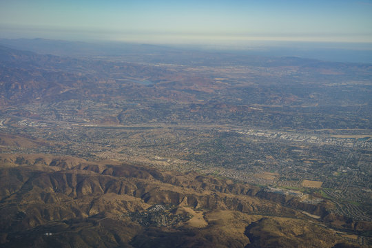 Aerial view of Yorba Linda, view from window seat in an airplane