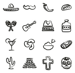 Mexican Culture  Icons Freehand