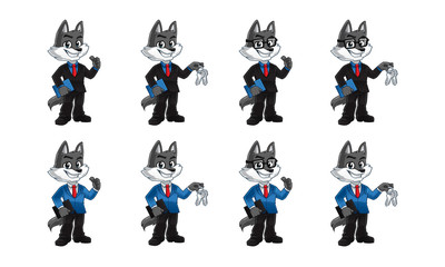 Business wolf mascot, 100% vector editable.