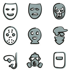 Mask Icons Freehand 2 Color