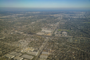 Aerial view of Compton, view from window seat in an airplane