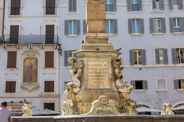 Fontana del Pantheonin the Piazza della Rotonda, Rome, in front of the Roman Pantheon.