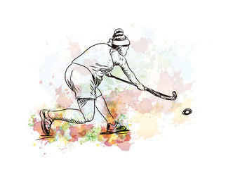 Watercolor sketch of Hockey lady player playing hockey in vector illustration.