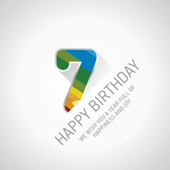 Happy 7th Birthday color design greeting card