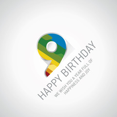 Happy 9th Birthday color design greeting card