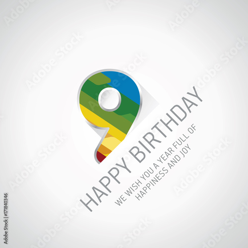 Happy 9th Birthday Color Design Greeting Card Stock Image And