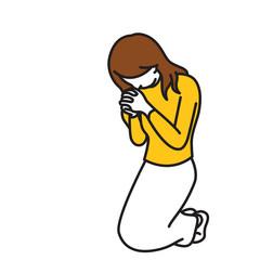 Woman kneel down and praying