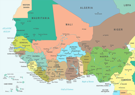 West Africa Map - Vector Illustration