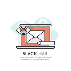 Vector Icon Style Illustration of Blackmail, Internet Fraud and Hacking, Spam Email, Isolated Web Design Element