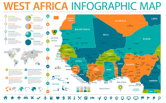 West Africa Map - Info Graphic Vector Illustration