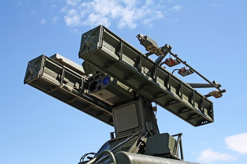 Missile launcher at armored vehicle