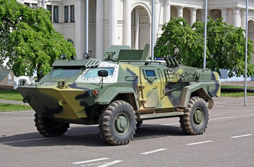 Armored reconnaissance patrol car from Belarus on a street