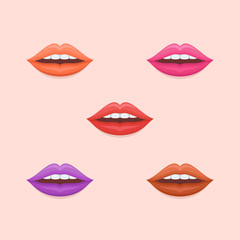 Set of woman sexy lips with varicolored lipstick isolated on background. Flat style icons. Vector illustration.