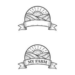 sun farm logo illustration hand draw sketch